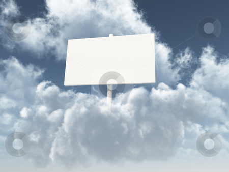 Blank white sign stock photo, Blank white sign on clouds - 3d illustration by J?