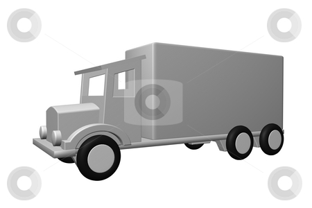 Old truck stock photo, Simple old truck on white background - 3d illustration by J?