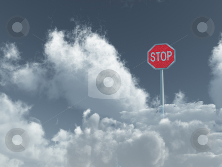 Stop stock photo, Stop sign in cloudy sky - 3d illustration by J?