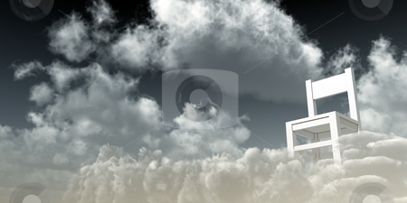 Watching stock photo, Lonely white chair at clouds - 3d illustration by J?