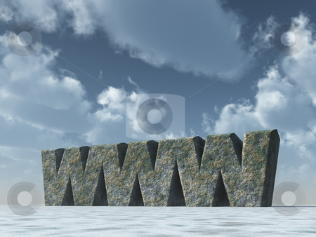 Www rocks stock photo, Www rock in front of cloudy sky - 3d illustration by J?