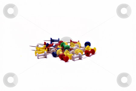 Color pins stock photo, Colorfull pins on white background by Roman Kalashnikov