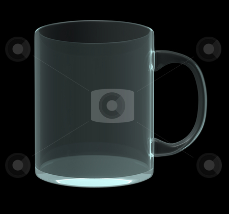 Mug stock photo, Glass mug on black background - 3d illustration by J?