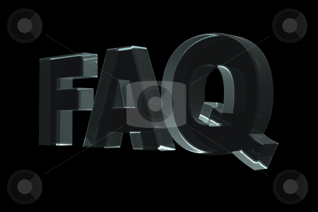 Faq stock photo, The word FAQ in glass on black background - 3d illustration by J?