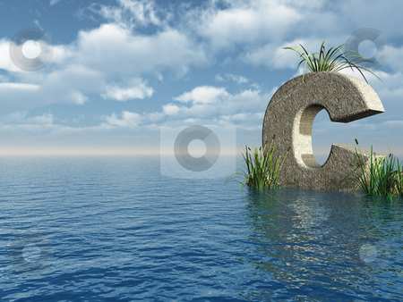 Letter C stock photo, Letter C rock in water landscape - 3d illustration by J?