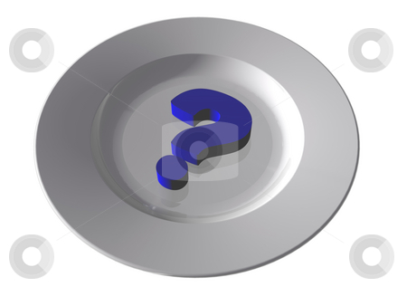 Question mark stock photo, White dinner plate and question mark - 3d illustration by J?