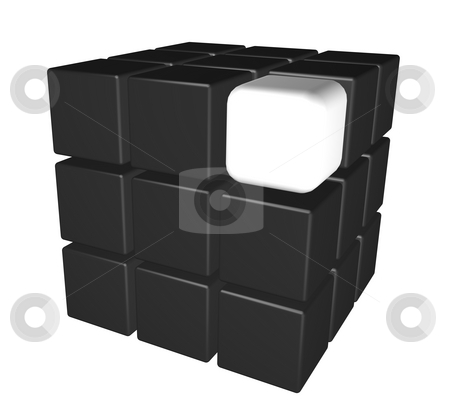 Black cubes stock photo, Cubes in black and one individual in white -3d illustration by J?