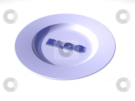 Kitchen blog stock photo, White dinner plate with the word blog- 3d illustration by J?
