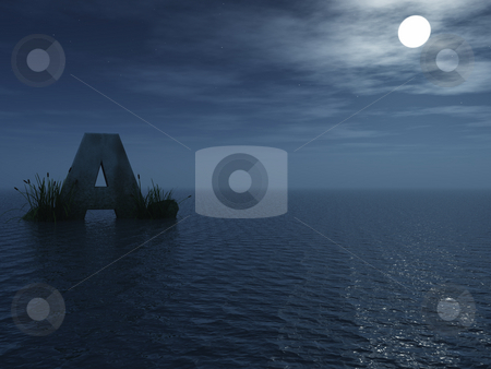 Letter a stock photo, The letter a in the night at the ocean - 3d illustration by J?