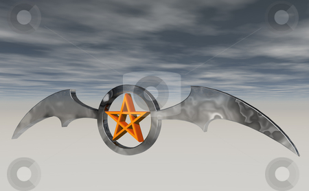 Bat wings stock photo, Ring with batwings and pentagram - 3d illustration by J?