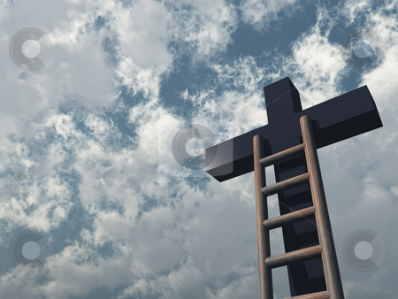 Cross stock photo, Ladder and christian cross in front of blue sky - 3d illustration by J?