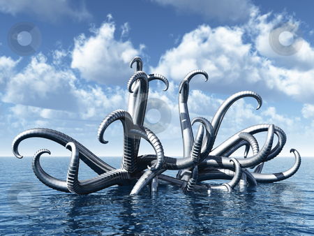 Octopus stock photo, Abstract metal tentacle thing at ocean - 3d illustration by J?
