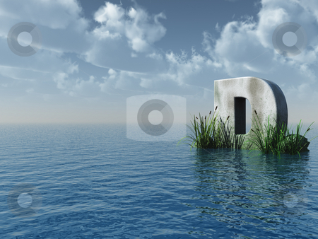D rock stock photo, Letter D rock in water landscape - 3d illustration by J?