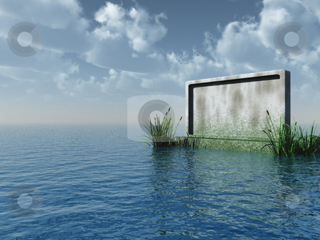 Stonewall stock photo, Blank stone board at the ocean - 3d illustration by J?