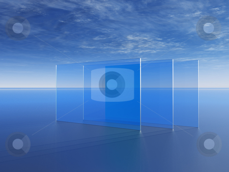 Windowpanes stock photo, Glass panes in front of blue cloudy sky - 3d illustration by J?