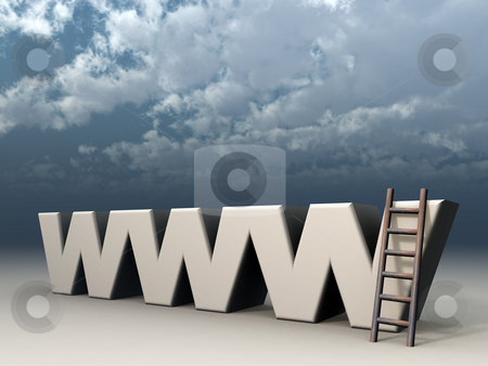 Www stock photo, The letters www and a ladder in front of cloudy sky - 3d illustration by J?