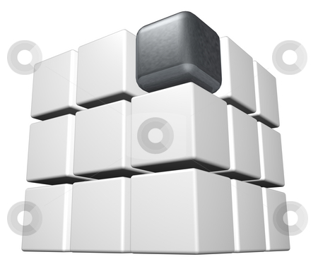 Cube stock photo, Cubes in white and one individual in metal -3d illustration by J?