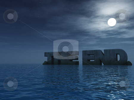 The end stock photo, The end rock at the ocean - 3d illustration by J?