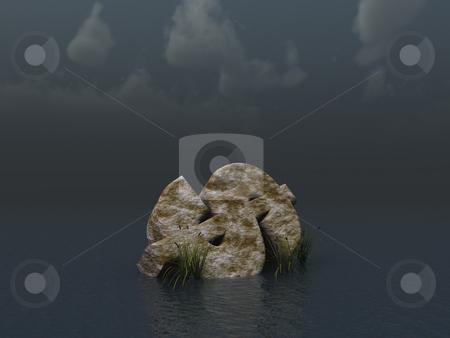 Fallen dollar monument stock photo, Fallen dollar monument in water landscape - 3d illustration by J?