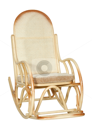 Rocking chair stock photo, Rocking chair from a rod on a white background. by Sergey Goruppa
