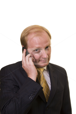 Businesman with phone stock photo, Businesman speeking on the phone on white background by Roman Kalashnikov