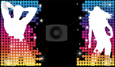 Couple Party Dots stock vector clipart, Grunge Background with Party Couple Silhouette with Stars by Augusto Cabral Graphiste Rennes