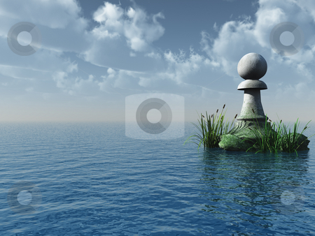 Chess pawn stock photo, Stone chess pawn at the ocean - 3d illustration by J?