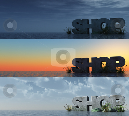 Shop stock photo, The word shop at the ocean at three different times - 3d illustration by J?
