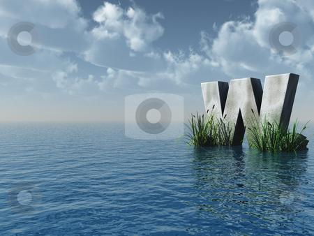 Letter W stock photo, Letter W rock in water landscape - 3d illustration by J?