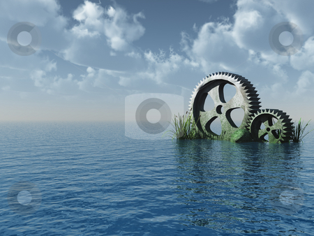 Gearwheels stock photo, Gear wheel rocks at the ocean - 3d illustration by J?