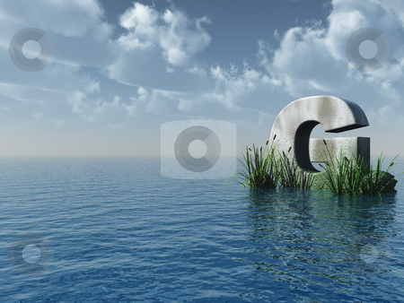 Letter G stock photo, Letter G rock in water landscape - 3d illustration by J?