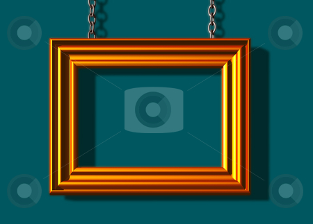 Frame on green background stock photo, Blank golden picture frame  -3d illustration by J?