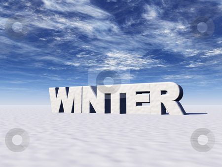 Winter stock photo, The word winter in snow - 3d illustration by J?