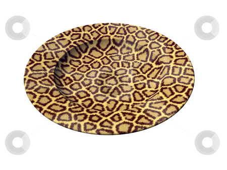 Leopard stock photo, Dinner plate with leopard texture on white background - 3d illustration by J?