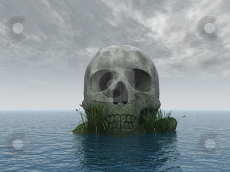 Skull stock photo, Stone skull at ocean - 3d illustration by J?