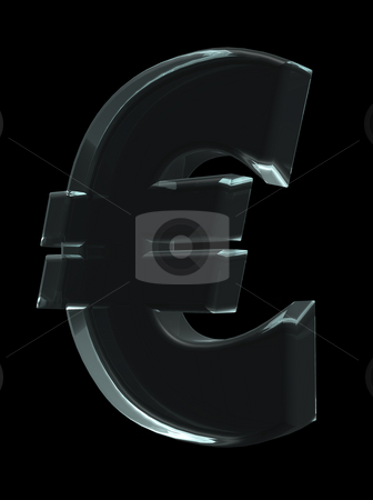 Euro stock photo, Glass euro sign on black background - 3d illustration by J?