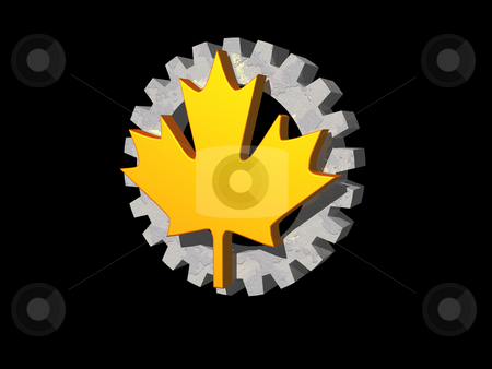 Maple and bear stock photo, Maple-sheet and gear wheel on black background - 3d illustration by J?