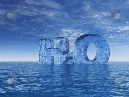 H2o stock photo, Chemistry symbol for water - h2o - letters at the ocean - 3d illustration by J?