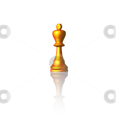 King stock photo, Golden chess king on black background - 3d illustration by J?