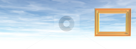 Picture frame stock photo, Picture frame on cloudy sky -3d illustration by J?