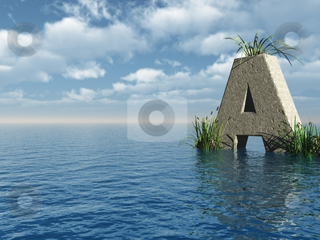 Letter a stock photo, Letter a rock in water landscape - 3d illustration by J?