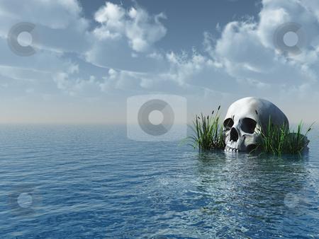 Skull stock photo, Stone skull at the ocean - 3d illustration by J?