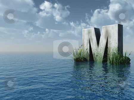 Letter M stock photo, Letter M rock in water landscape - 3d illustration by J?