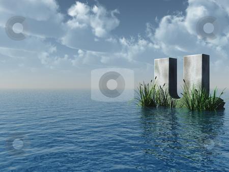 Letter U stock photo, Letter U rock in water landscape - 3d illustration by J?