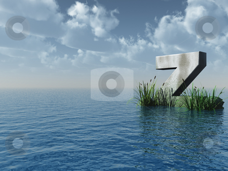 Z rock stock photo, Letter Z rock in water landscape - 3d illustration by J?