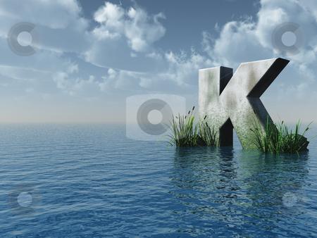 Letter K stock photo, Letter K rock in water landscape - 3d illustration by J?