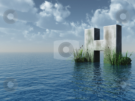 Letter H stock photo, Letter H rock in water landscape - 3d illustration by J?
