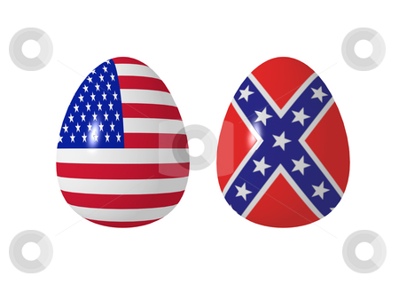 Us eggs stock photo, Eastereggs with us flags on white background - 3d illustration by J?
