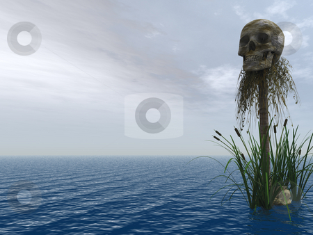 Skull stock photo, Skull at the ocean - 3d illustration by J?