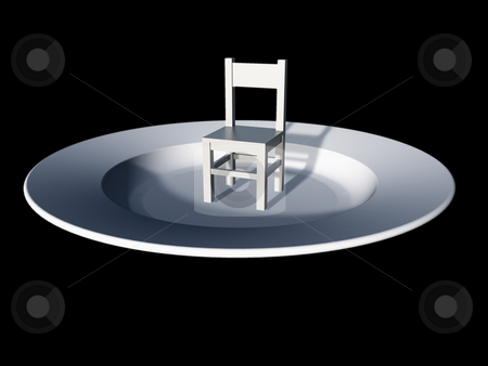 Kitchen stock photo, White chair and dinner-plate on black background - 3d illustration by J?